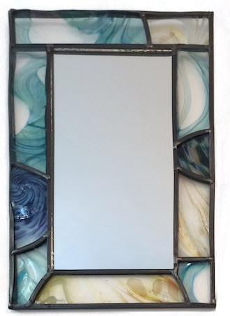 hand painted leaded mirror commission