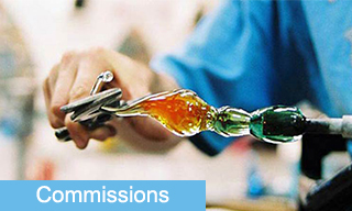 Glassblowing commissions in stained glass and glass blowing Click Button