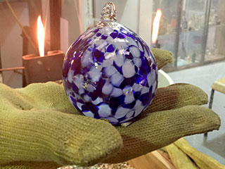 A Completed Handmade Glass Christmas Bauble By Bath Aqua Glass