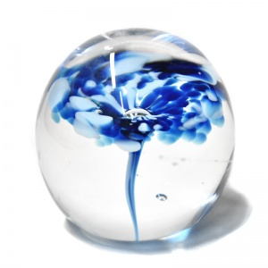 Small Blue & White Flower Paperweight