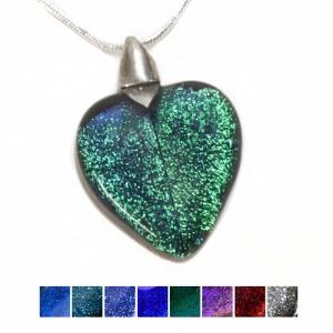 Glass pendants glass necklace dichroic heart pendant aloadofball Image collections