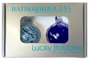 Set of 2 Small Handmade Baubles in Presentation Box