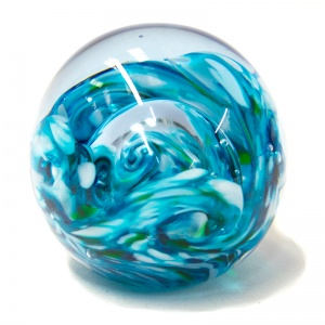 Large Teal Swirl Paperweight