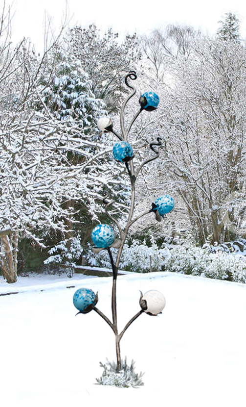 Iron and glass tree sculpture