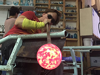 Blowing A Glass Christmas Bauble Into Shape