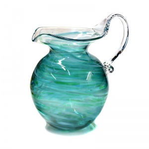 Teal Art Glass Water Jug