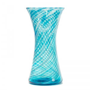 Large Clear Aqua Swirl Chimney Vase