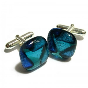 Dichroic Mosaic Cufflinks On Silver