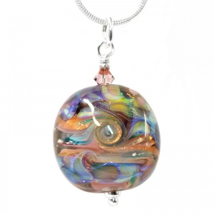 Unique Helix Bead Pendant - Multicolour Hologram Swirls