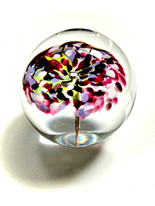 Paperweight purple flower with greens and pinks