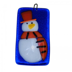 Fused Glass snowman for the Christmas tree