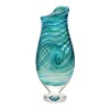Tall Teal Art Glass Vase