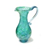 Tall Teal Art Glass Water Jug