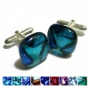Glass Dichroic Cufflinks with Ashes