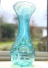 Hand made Bath Aqua Glass Teal lily vase