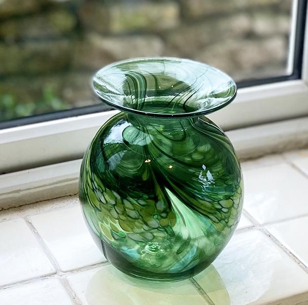 Hand Blown Green Glass Art Vase