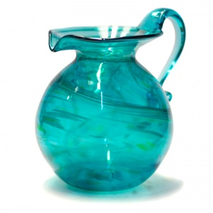 Large Teal Art Glass Round Jug