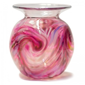 Cranberry Swirl Round Art Glass Vase