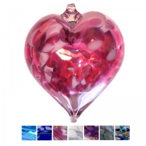 Blown Glass Handmade Heart Baubles