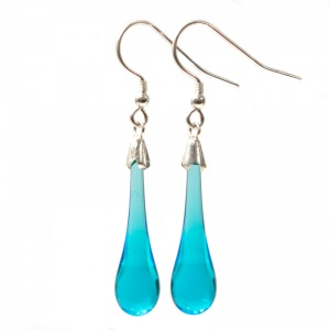 Plain Aqua Molten Drop Earrings