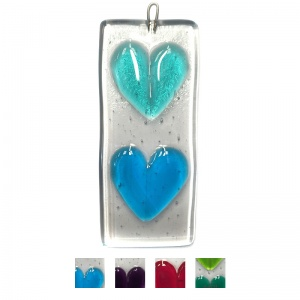 Fused Heart Hanging - Two Hearts