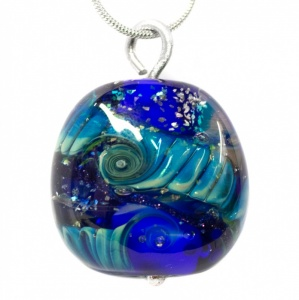 Unique Helix Bead Pendant - Blue and Silver