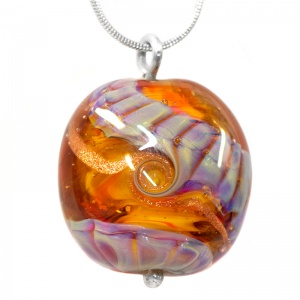 Unique Helix Bead Pendant - Orange and Lilac