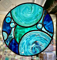 Stained glass roundel window hanging
