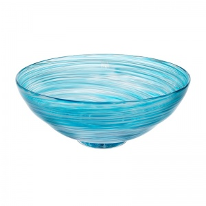 Bowl aqua swirly arty glass Signed and dated BATH 2019 on the bottom of the piece.