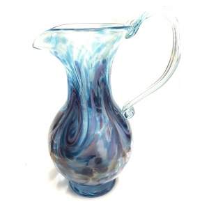 Large Aqua Amethyst Art Glass Jug