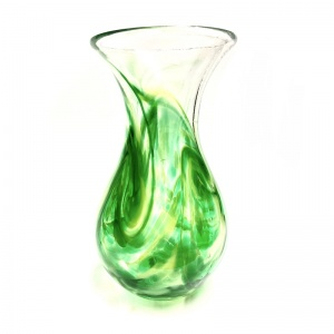 Medium Green Art Glass Vase
