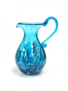 Jug large aqua handblown