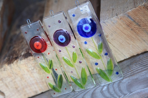 Spring flower fused glass suncatchers