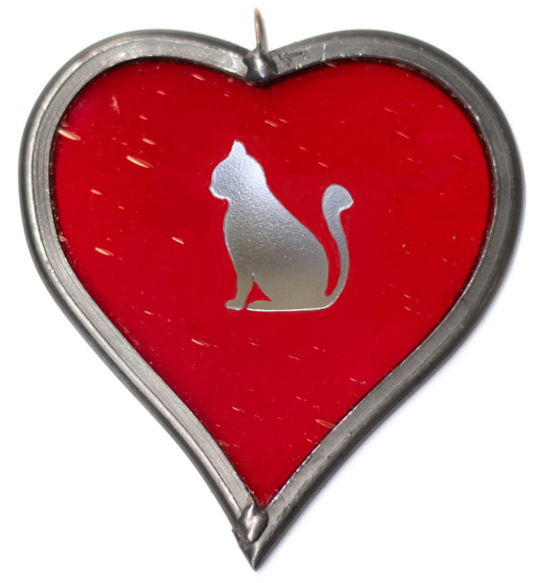 stained glass heart with cat engraving